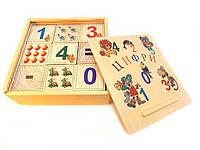 Кубики деревянные с цифрами и картинками 9 штук, фото 1
