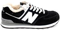 Мужские зимние кроссовки New Balance 574 Winter (Нью Баланс) с мехом черные