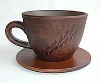 Чашка кофе 150 мл с узором на блюдце