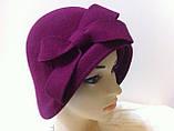Фетровий капелюшок із складками і бантом, фото 3