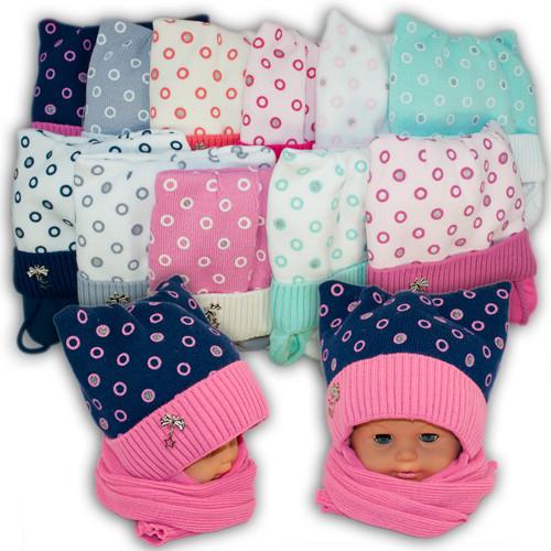 Детский комплект - шапка и шарф для девочки, код. 1121, Agbo (Польша), подкладка SUPERWARM, 1121