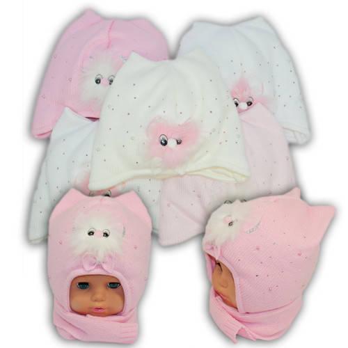 Детский комплект - шапка и шарф для девочки - i4, Ambra (Польша), утеплитель Iso Soft
