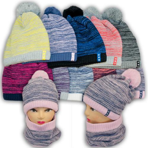 Комплект шапка и шарф (хомут) для девушек, BM40P, Польша, подкладка флис