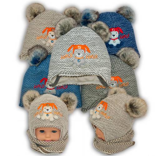 Детский комплект - шапка и шарф для мальчика, Ambra (Польша), утеплитель Iso Soft, T5