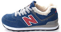 Мужские зимние кроссовки New Balance 574 Winter (Нью Баланс) с мехом синие
