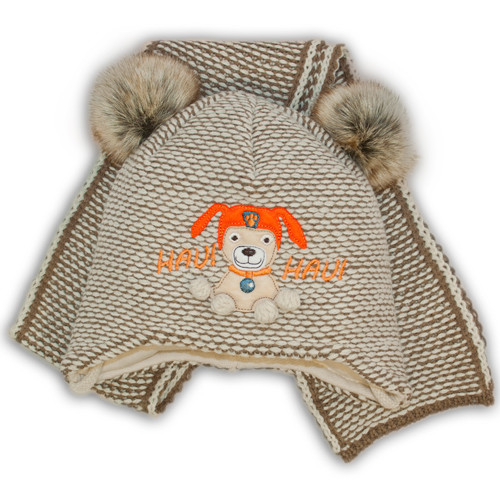 Вязаная шапочка и шарф в виде миньонов