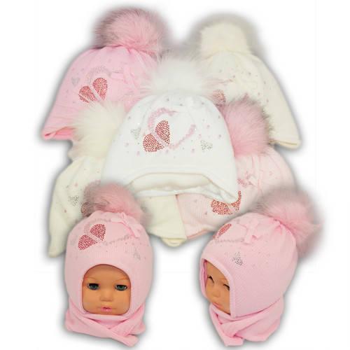 Детский комплект - шапка и шарф для девочки - i7, Ambra (Польша), утеплитель Iso Soft