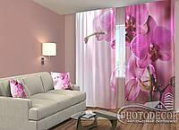 """ФотоШторы """"Пурпурные орхидеи"""" 2,5м*2,0м (2 половинки по 1,0м), тесьма"""