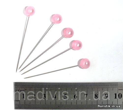Булавка декоративная, 10 х 65 мм, розовая (5 шт.)