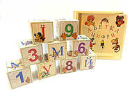 Кубики деревянные украинский алфавит с цифрами  9 штук, фото 1