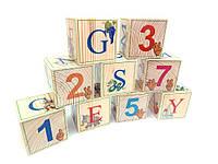 Кубики деревянные английский алфавит с цифрами  9 штук, фото 1