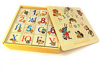 Кубики деревянные русский алфавит с цифрами 16 штук