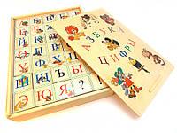 Кубики деревянные русский алфавит с цифрами 35 штук