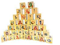 Кубики деревянные украинский алфавит с цифрами 35 штук, фото 1