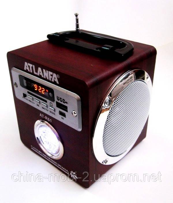 Акустическая колонка с ярким LED фонариком Atlanfa AT-R61, MP3 SD USB FM, red