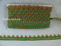 """Зеленая с золотом тесьма""""корона""""(ширина 2.7см)"""
