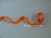 Лента атласная оранжевая в белый горох (ширина 2.5см