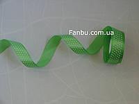Лента атласная светло зеленая в белый горох (ширина 2.5см