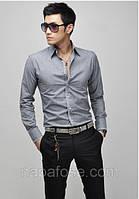 Приталенная рубашка мужская серая