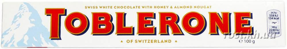 Швейцарский белый шоколад Tobleron с медом и миндальной нугой 100г