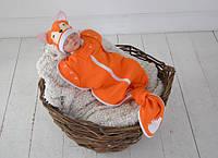 """Безразмерная детская пеленка кокон на молнии """"Каспер"""", """"Лиса"""" для малышки с рождения до 1,5-2 лет ТМ MagBaby"""