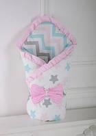 """Двусторонний демисезонный конверт-одеяло """"Зефирка"""" на выписку из роддома для новорожденной (Размер 80*85 см) ТМ MagBaby"""