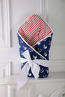 """Двусторонний демисезонный конверт-одеяло """"Морской"""" на выписку из роддома для новорожденного (Размер 80*85 см) ТМ MagBaby"""