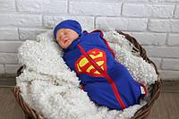 """Детская евро пеленка кокон на молнии Half+ шапочка """"Супермен"""" для мальчика с рождения до 3 месяцев ТМ MagBaby"""