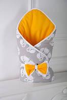 """Двусторонний конверт-одеяло """"Лисенок"""" на выписку из роддома для новорожденного малыша (Размер 80*85 см) ТМ MagBaby"""