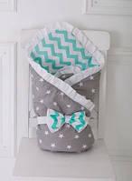 """Демисезонный двусторонний конверт-одеяло """"Мятный"""" для новорожденного на выписку из роддома (Размер 80*85 см) ТМ MagBaby"""