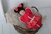Детская евро пеленка-кокон на молнии Минни Маус+ шапочка для малышки с рождения до 3 месяцев ТМ MagBaby