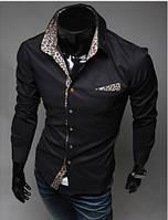 Рубашка мужская с леопардовым воротом