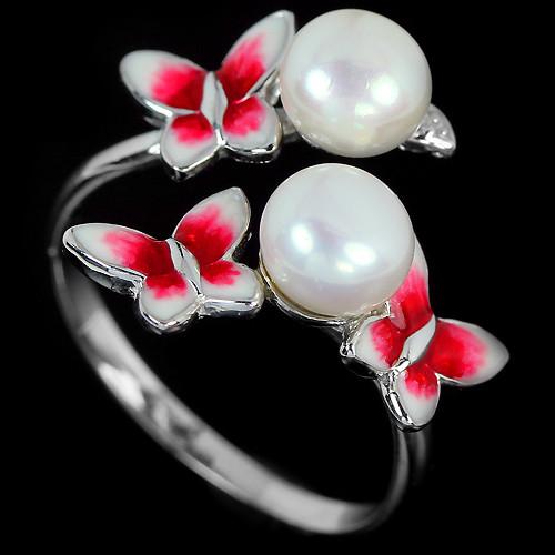 Кольцо с японским жемчугом и эмалью (бабочки)