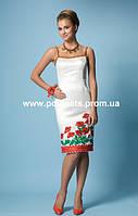 Платье с вышивкой маками