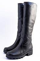 Женские кожаные сапоги на утолщенной подошве