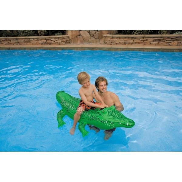 Детский надувной плотик Крокодил Одноместный Intex 58546 (168х86 см.)