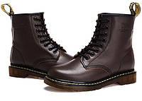 Женские зимние ботинки Dr. Martens 1460 коричневые (с мехом)