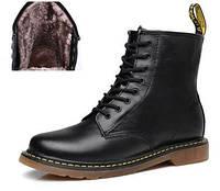 Женские зимние ботинки Dr. Martens 1460 black (с мехом)