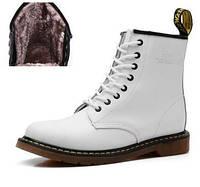 Женские зимние ботинки Dr. Martens 1460 белые (с мехом)