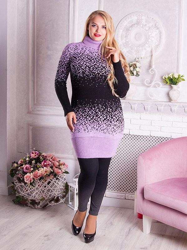 Вязаное платье Леопард (48-58) сиреневый