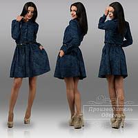 Модное платье из плотного теплого джинса. Арт-8878/42