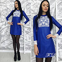 Короткое платье из эко-кожи с итальянским кружевом. Арт-8880/42