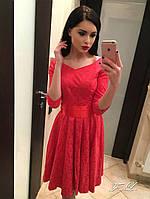 Красное жаккардовое платье с атласным бантом. Арт-8881/42