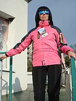 Лыжная мембранная ветрозащитная женская куртка Spyder с прорезиненными замками розовая высокого качества