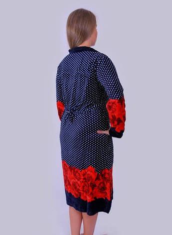 Велюровый женский халат в Горошек, фото 2