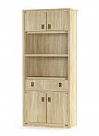 Шкаф книжный 4д1ш дуб самоа Валенсия Мебель-сервис