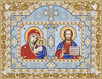 Ткань с рисунком для вышивания бисером Иконостас. Богородица Казанская и Христос Спаситель РИК-3-025