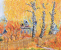 Ткань с рисунком для вышивания бисером Осень в деревне РКП-571