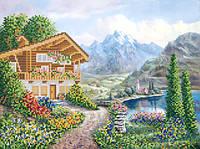 Ткань с рисунком для вышивания бисером Альпийская деревушка РКП-574