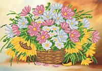 Ткань с рисунком для вышивания бисером Цветочная корзина РКП-582